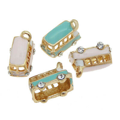 4 pcs Mixed Enamel Plated Gold Alloy Bus Charm Pendant Findings 19x12x10 mm