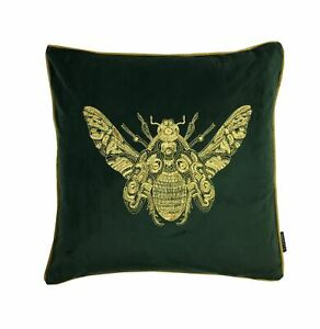 Brode-Abeille-Emeraude-Vert-or-Velours-Ambiance-50-8cm-50CM-Cushion-Cover
