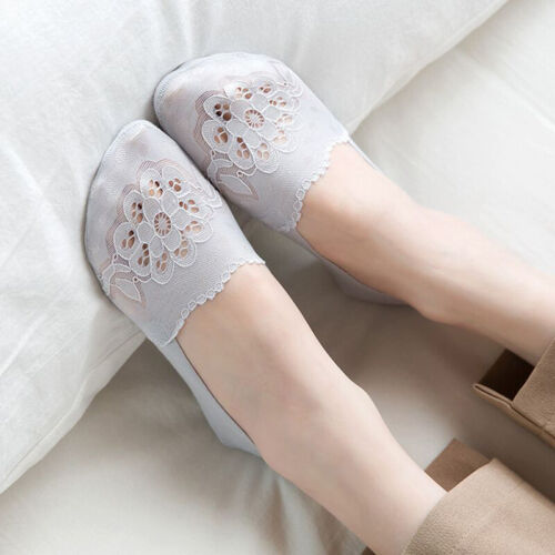 Women Cotton Blend Lace Antiskid Invisible Low Cut Socks Toe Ankle Sock ONE