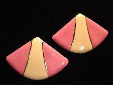 Vintage 1980s Pastel Pepto Bismol Pink & Cream Enamel Fan Shape Post Earrings