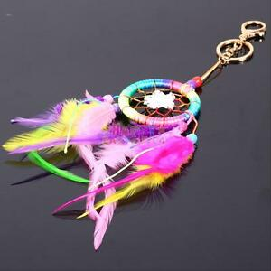 Rainbow-Dream-Catcher-Feather-Pendant-Key-Chain-Keyring-Ring-Keychain-Gift