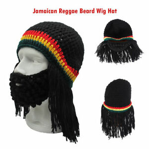 Image is loading Funny-Knitted-Jamaican-Reggae-Beard-Wig-Beanie-Hat- c605d2ce4ad