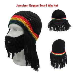 ab010b0f811 Image is loading Funny-Knitted-Jamaican-Reggae-Beard-Wig-Beanie-Hat-