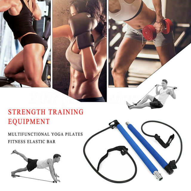 Fitness Stretch Resistance Band Tension Rope Pilates Trainer Rope w// Foam Handle