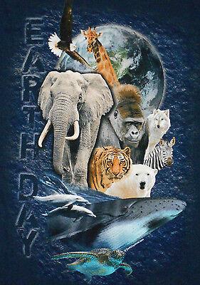 NEW Earth Day T-Shirt 2XL Blue Mens Womens Short Sleeve Whale Elephant 5K5