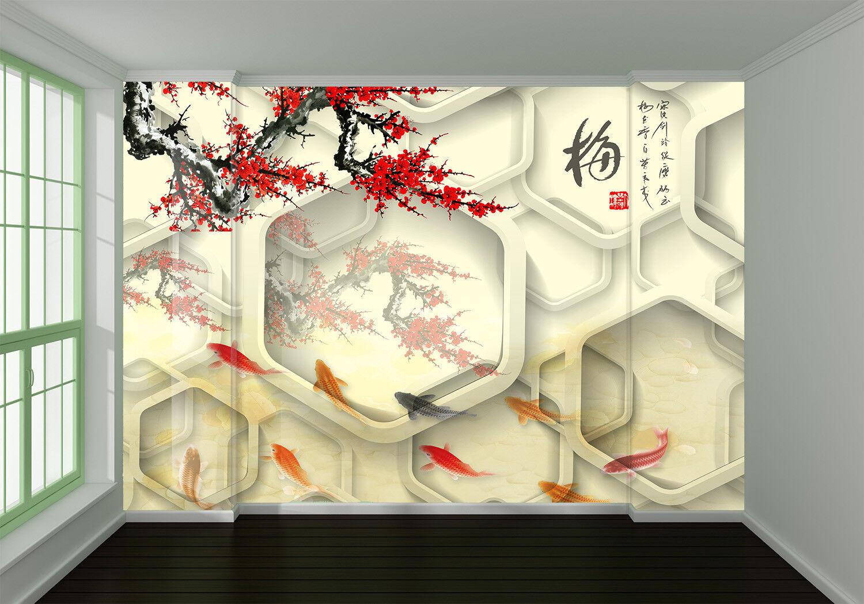 3D Pflaumen Fische 77 Tapete Wandgemälde Tapete Tapeten Bild Familie DE Summer