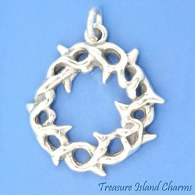 Sterling Silver 3D Jesus Crown Of Thorns Dangle Charm Bead For Bead Charm Bracelet