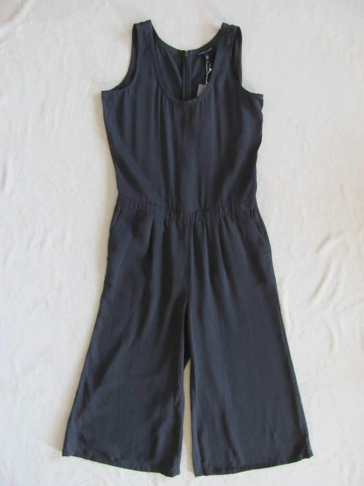 Eileen Fisher Sleeveless Crop Jumpsuit-Polished Tencel-Graphite-Size XS-NWT  358