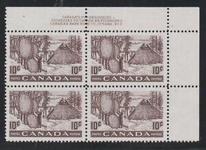 1950 Canada SC# 301 UR Fur Resources Plate No. 2 Plate Block M-NH Lot# 006