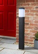 NEW VENICE TALL SOLAR RATTAN LIGHT LAMP POST OUTDOOR GARDEN PATIO LANTERN