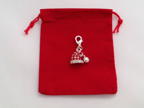Silver Plated Christmas Hat Clip on Charm with Red Gift Bag FREE P/&P