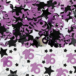 2-Packs-16-16th-Birthday-Pink-Black-Silver-Stars-Confetti-Table-Sprinkles