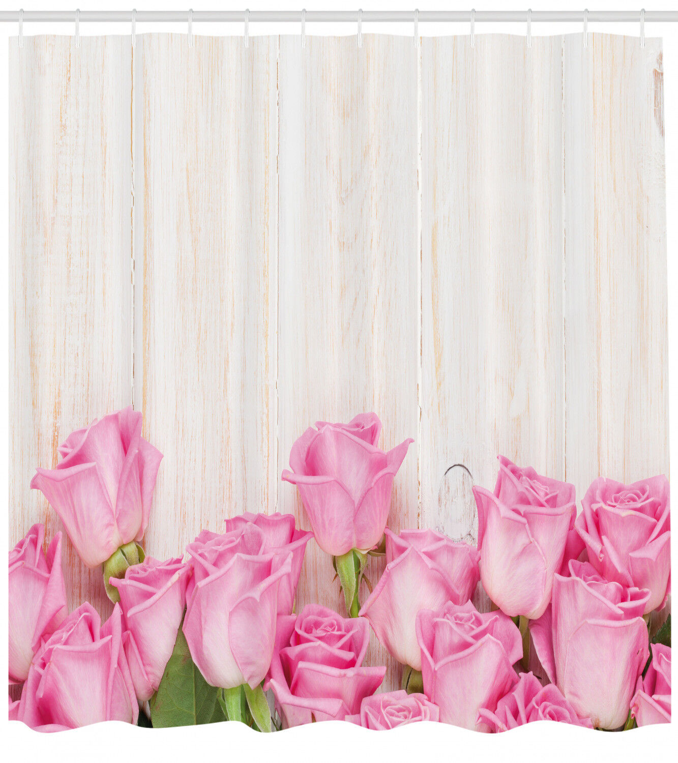 Rosa Shower Curtain Flowers On Wood Planks Print For Bathroom 75 Inches Long 9d788d
