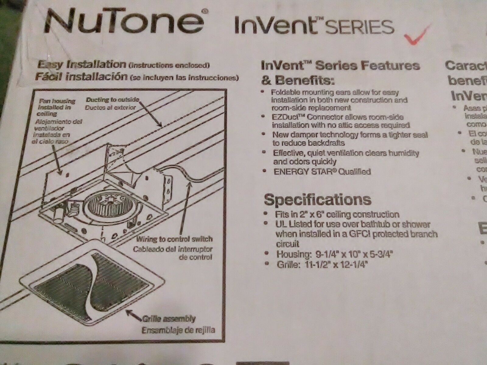 Nutone Invent Series 110 Cfm Ceiling Exhaust Bath Fan Energy Star Broan Fans Wiring Diagram Model 678 Aern110 Ebay