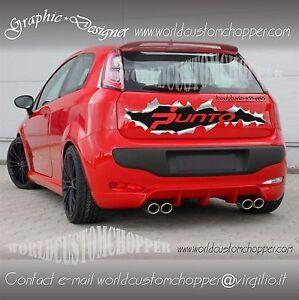 Grafica Strappo Adesiva Fiat Cofano Posteriore Grande Punto Auto Tuning Racing