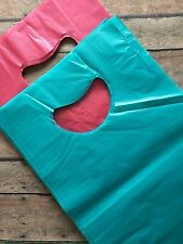 25 teal and red plastic retail bags - retail bags, merchandise bags