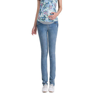 46f02e8b9714b Details about Elegant Maternity Skinny Denim Trousers Pregnancy Jeans Pants  Over Bump UK 6-14