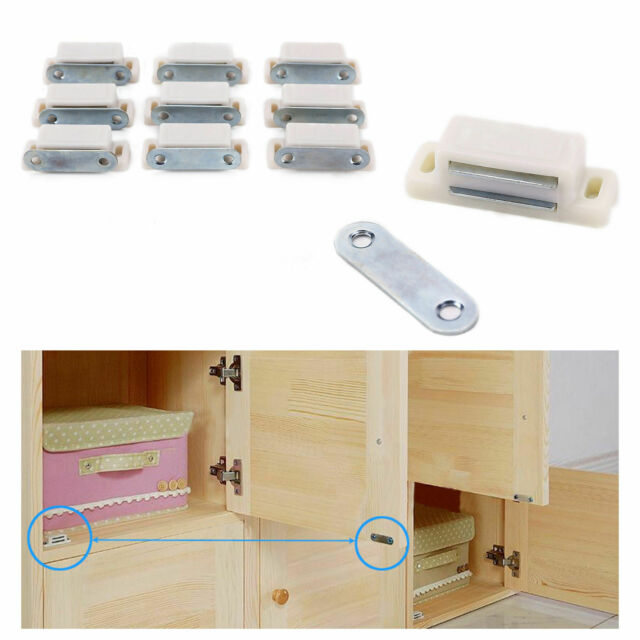10pcs White Magnetic Door Catches Cupboard Wardrobe Kitchen Cabinet Latch Catch For Sale Online Ebay