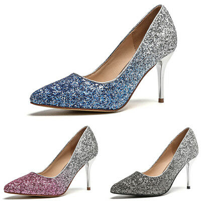 Ladies Sequin Pointed Toe Sandals Women High Heels Mules Glitter Party Shoes New