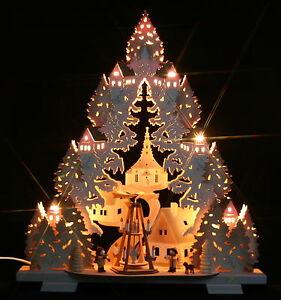 3d schwibbogen seiffener kirche pyramide erzgebirge dreieck tanne weihnachten ebay. Black Bedroom Furniture Sets. Home Design Ideas