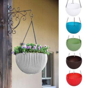 Resin-Rattan-Wall-Hanging-Plant-Pots-Box-Flower-Basket-w-Chain-Garden-Planters