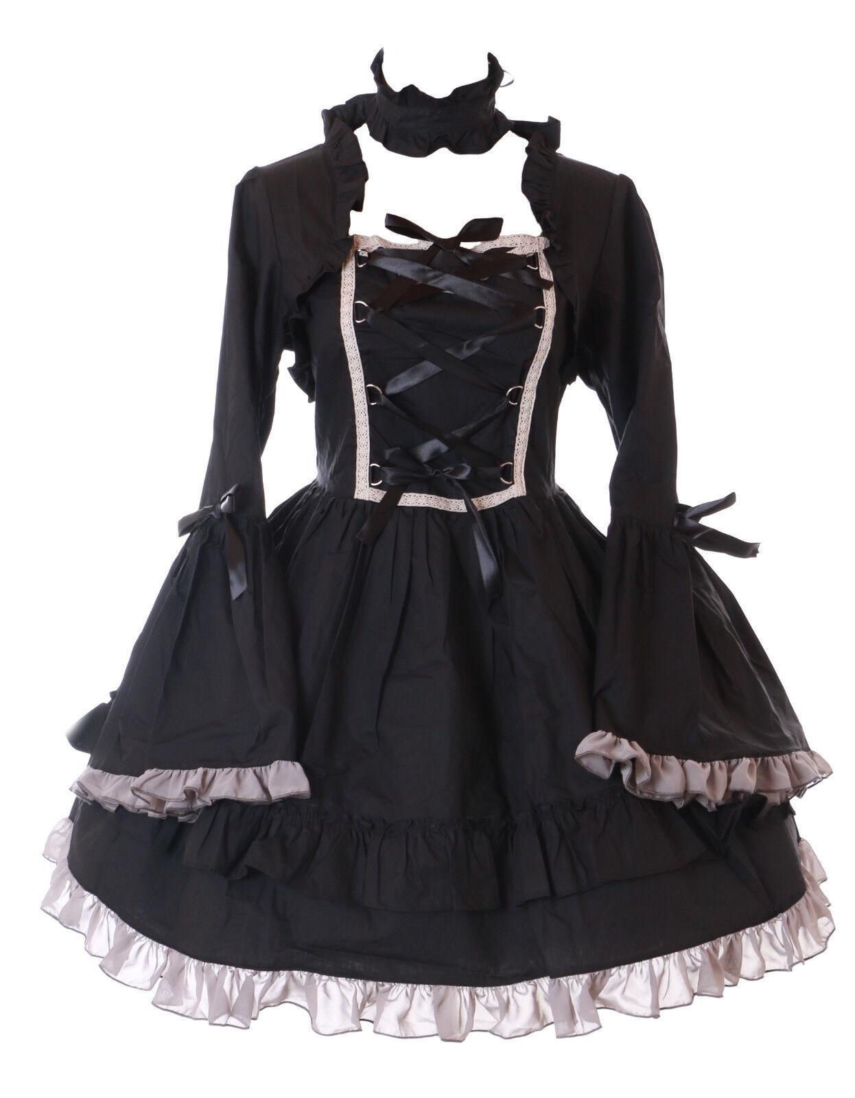 L-647-2 black Robe à Volants Victorien Classic Costume de Cosplay Gothique Lolita