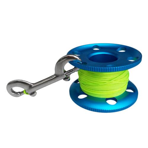 Tauchen Aluminium Finger Spool Reel Linie mit Edelstahl Snap  Clip