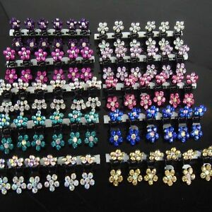12PCS-Lots-Girls-Sweet-Rhinestone-Crystal-Flower-Mini-Hair-Claws-Clips-Clamps