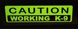 Caution Working k-9 decal (Lime Green) Police Dog canine German Shepard Sticker