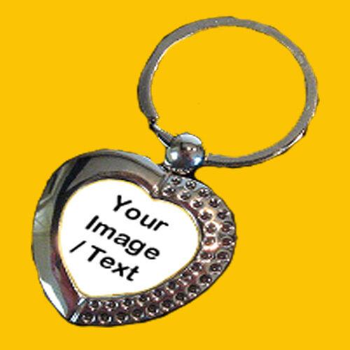 Personalised Custom Silver Metal Heart Keyring Family Photo Logo Pets Kids