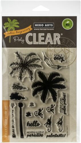 """Hero Arts Clear Stamps 4/""""X6/""""-Color Layering Palm Tree HA-CM371"""