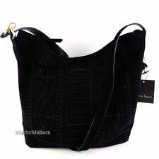 Nanette Lepore Hobo Shoulder Bag Black Suede Genuine Leather NEW $298