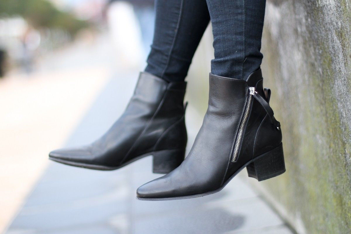 ZARA BLACK HIGH HEEL LEATHER ANKLE BOOT WITH ZIPS UK SIZES 6 & 7 NEU TAGS