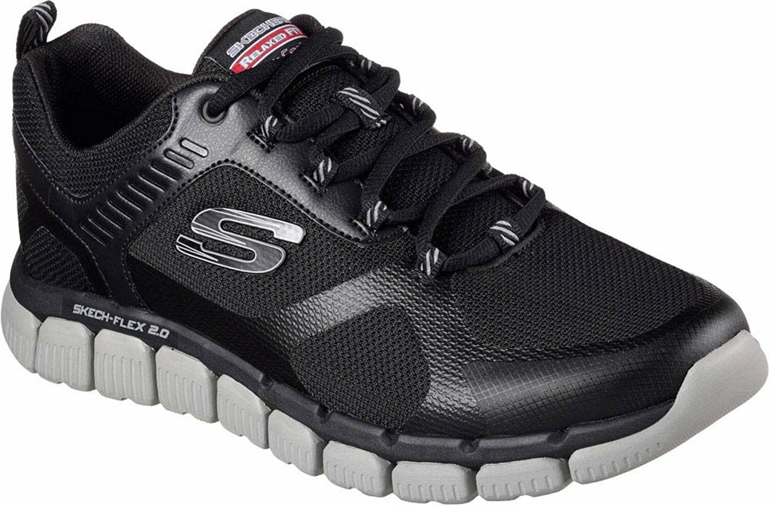 SKECHERS MENS SKECH-FLEX 2.0 KOMINAR MEMORY FOAM WALKING SHOES  52620 BKGY