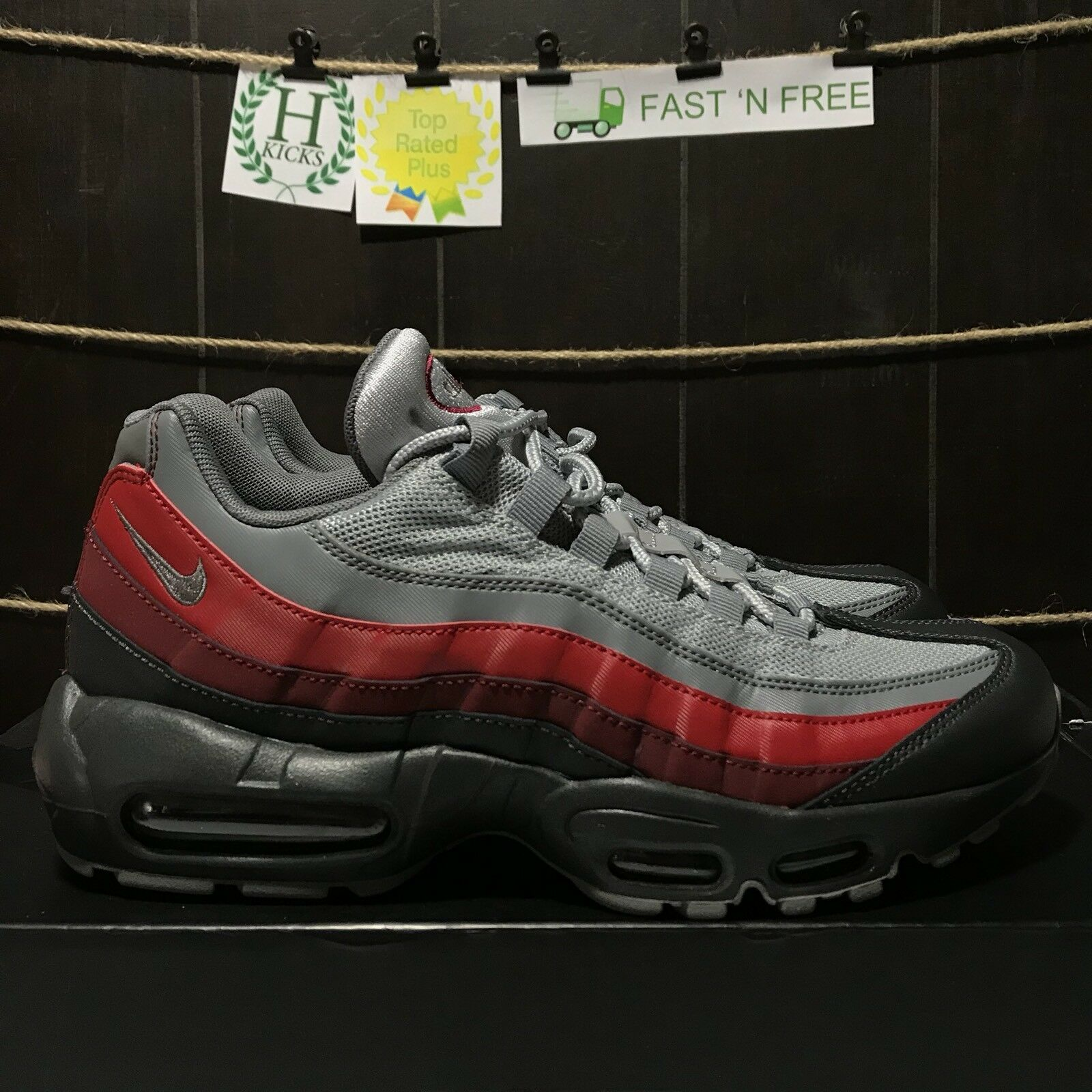Nike Air Max 95 Antrhacite Cool Wolf Grey Red Maroon Burgundy Size 8 749766 025