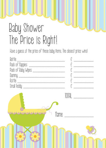 The Price is Right Set of 16 Baby Shower Game