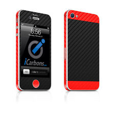 IPhone 4S-DUE/Tone-Nero/Rosso in fibra di carbonio della pelle da iCarbons