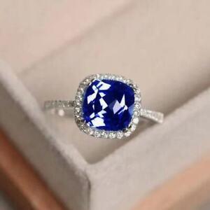 Blue-Tanzanite-White-Topaz-925-Sterling-Silver-Gemstone-Ring-Size-6-10