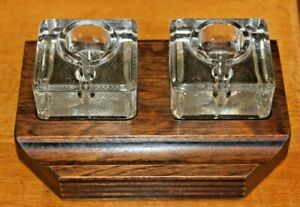 Antique-Vintage-Wooden-Twin-Solid-Glass-Inkwell-Stand-Desk-Tidy-Wood-Plinth