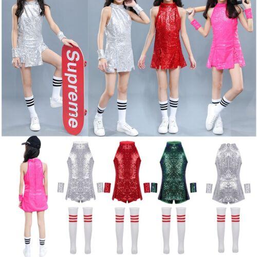 Street Dance Wear Costume Girls Sequins Tops+Shorts Kids Hip Hop Jazz Outfits