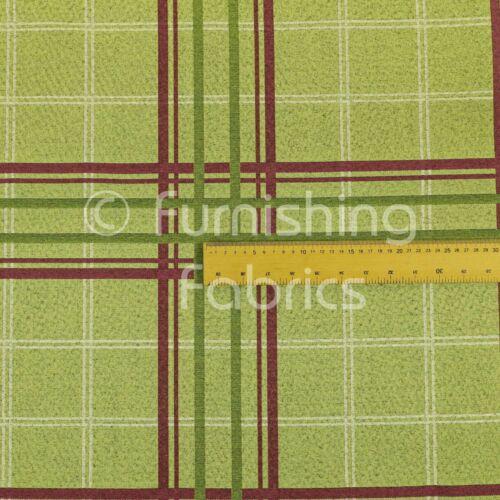 Soft Wool Effect Chenille Green Red Tartan Pattern Curtain Upholstery Fabrics