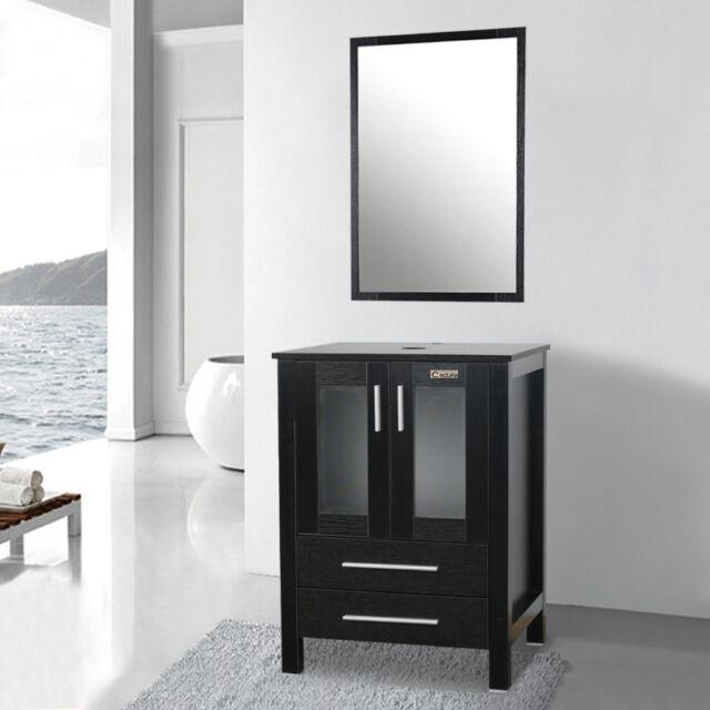 24 Black Bathroom Vanity Mirror Set W Top Cabinet Storage Table Wood 2 Drawers For Sale Online