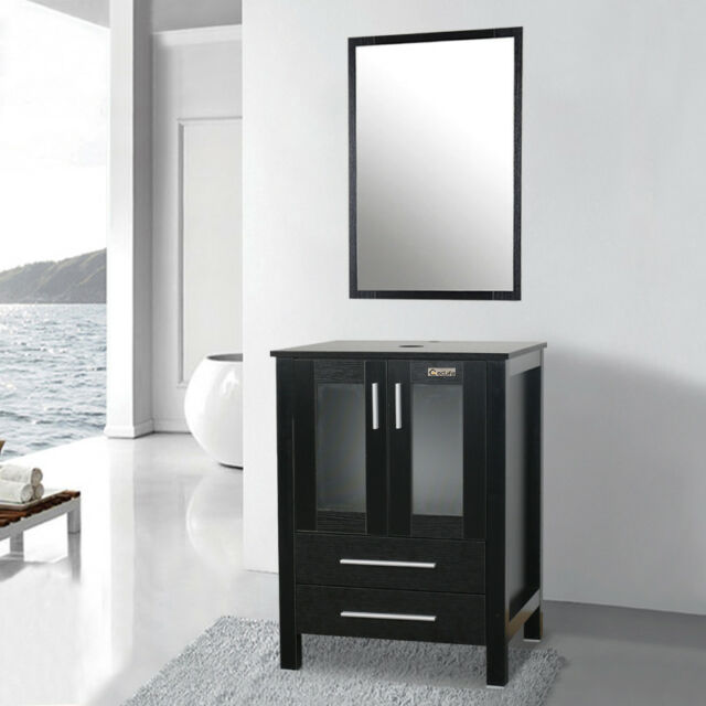 24 Black Bathroom Vanity Mirror Set W, Black Bathroom Storage Cabinet