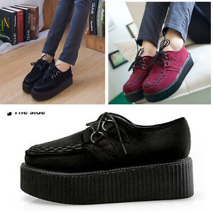 Women-Ladies-Artifical-Suede-Lace-Up-Wedge-Punk-Goth-Platform-Flat-Creeper-Shoes