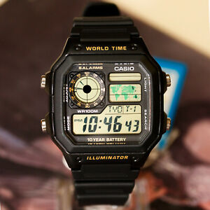 Casio-AE1200WH-1BV-Men-039-s-Digital-Watch-4-World-Time-Zones-Display-5-Alarms-New