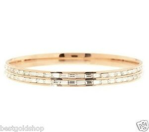 qvc channel set baguette eternity rose clad stainless steel bangle