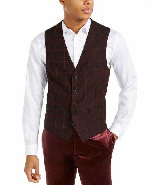 INC Mens Suit Separate Black Red Size 2XL Windowpane Vest Slim Fit $69 #061