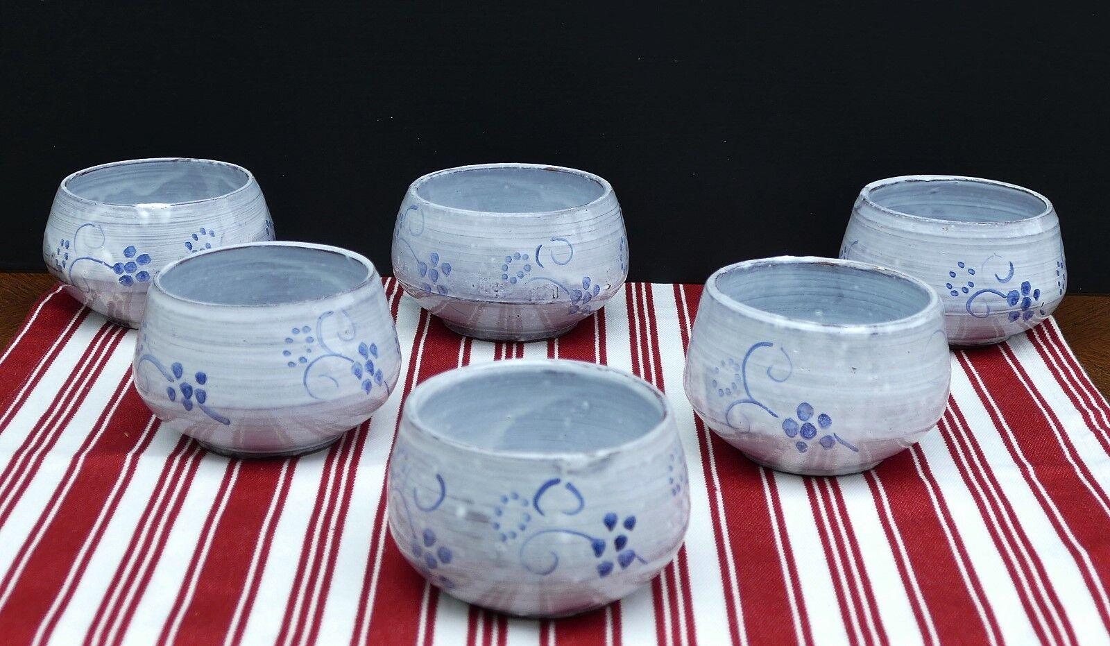 6 handgetöpferte Keramik Schälchen mit mit mit sehr schönem Blaumendekor    | Feinbearbeitung  bd0b1c