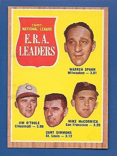 1962 Topps # 56 NL ERA Leaders Warren Spahn, etc. - EX/MT - Additional ship free