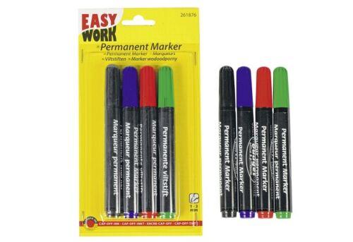 EASY WORK Permanent Marker 4er Stifte mehrfarbig Stifte Farbstifte malen Faser